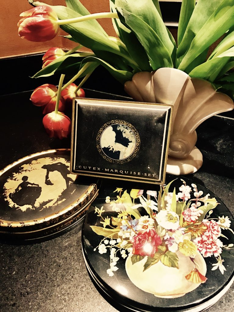 """Old candy and makeup tins are so decorative and colorful. They make great gift """"boxes."""""""